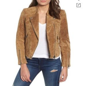 Blank NYC Tan Casablanca Leather Suede Moto Jacket